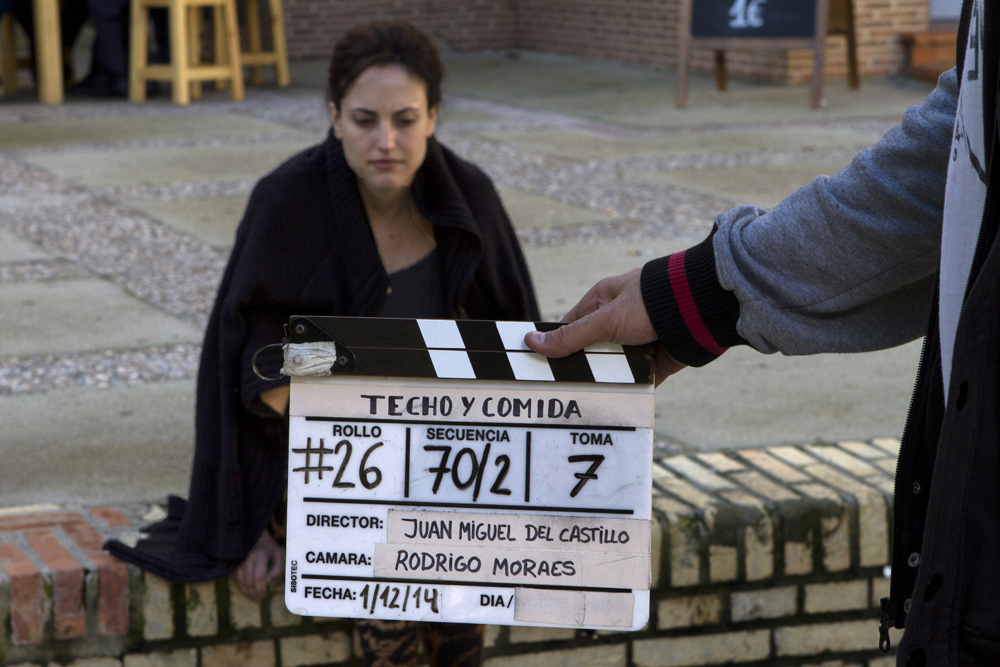 Natalia de Molina en el rodaje de Techo y comida.