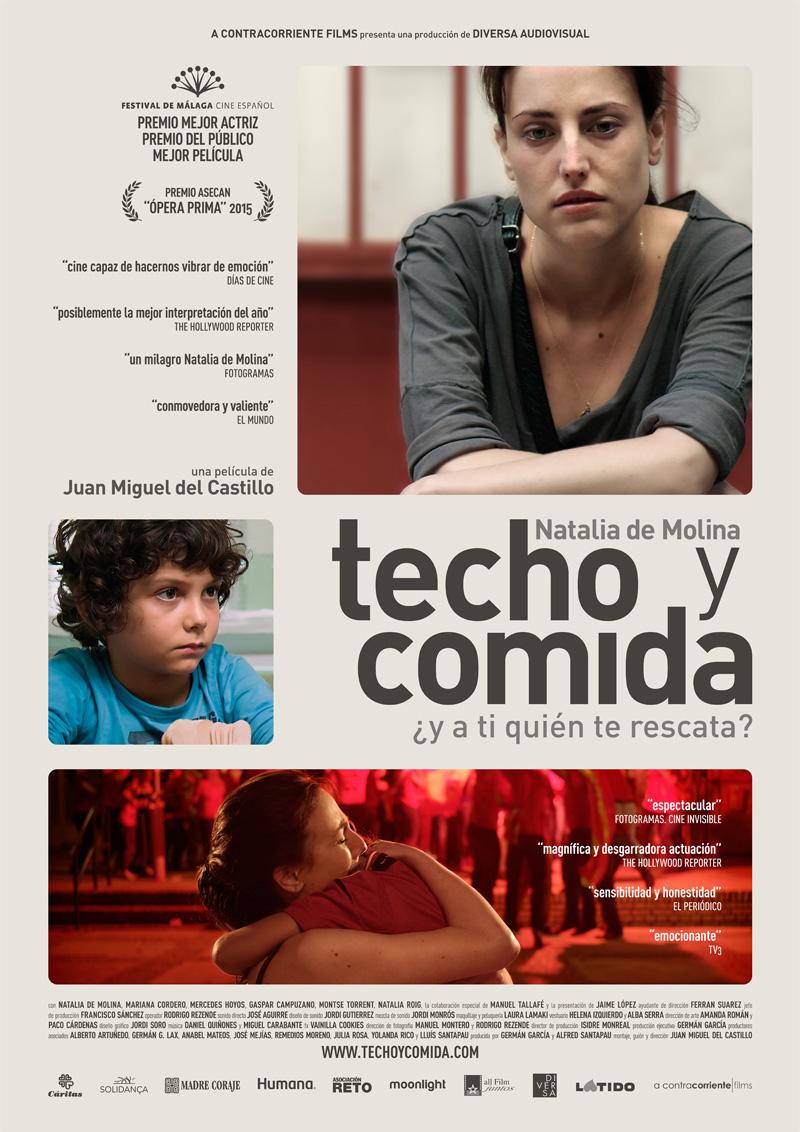 Cartel Cines Techo y comida